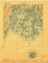 Monhegan, Maine 1906 (1921) USGS Old Topo Map 15x15 Quad