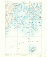 Monhegan, Maine 1906 (1944) USGS Old Topo Map 15x15 Quad