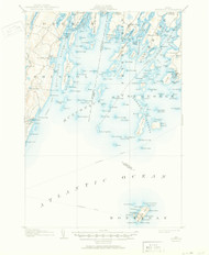Monhegan, Maine 1906 (1950) USGS Old Topo Map 15x15 Quad