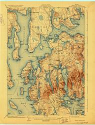 Mount Desert, Maine 1904 (1928) USGS Old Topo Map 15x15 Quad