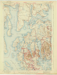 Mount Desert, Maine 1942 (1942 a) USGS Old Topo Map 15x15 Quad