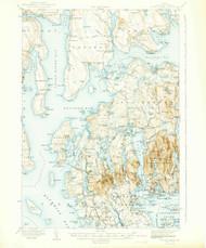 Mount Desert, Maine 1942 (1942 b) USGS Old Topo Map 15x15 Quad