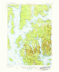 Mount Desert, Maine 1942 (1947 a) USGS Old Topo Map 15x15 Quad
