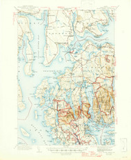 Mount Desert, Maine 1942 (1947 b) USGS Old Topo Map 15x15 Quad