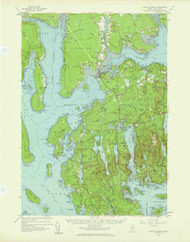 Mount Desert, Maine 1956 (1960 c) USGS Old Topo Map 15x15 Quad