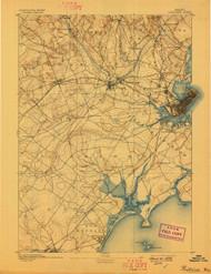 Portland, Maine 1893 (1898) USGS Old Topo Map 15x15 Quad
