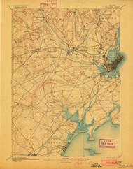 Portland, Maine 1893 (1902) USGS Old Topo Map 15x15 Quad
