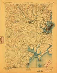 Portland, Maine 1893 (1906) USGS Old Topo Map 15x15 Quad