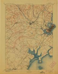 Portland, Maine 1893 (1913) USGS Old Topo Map 15x15 Quad