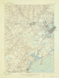 Portland, Maine 1916 (1943) USGS Old Topo Map 15x15 Quad