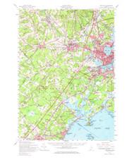 Portland, Maine 1957 (1967) USGS Old Topo Map 15x15 Quad