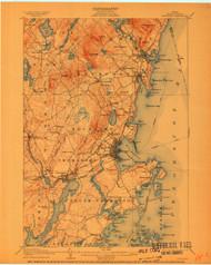 Rockland, Maine 1906 (1910) USGS Old Topo Map 15x15 Quad