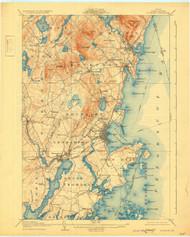 Rockland, Maine 1906 (1931) USGS Old Topo Map 15x15 Quad