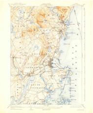 Rockland, Maine 1906 (1938) USGS Old Topo Map 15x15 Quad