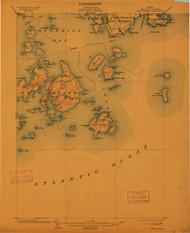 Swan Island, Maine 1904 (1912) USGS Old Topo Map 15x15 Quad