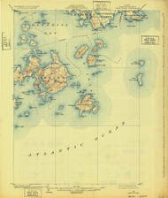 Swan Island, Maine 1904 (1932) USGS Old Topo Map 15x15 Quad