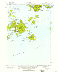 Swan Island, Maine 1943 (1958) USGS Old Topo Map 15x15 Quad