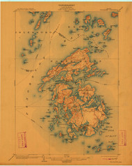 Vinalhaven, Maine 1904 (1912) USGS Old Topo Map 15x15 Quad