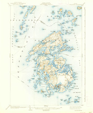Vinalhaven, Maine 1904 (1938) USGS Old Topo Map 15x15 Quad