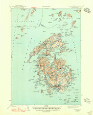 Vinalhaven, Maine 1944 (1947) USGS Old Topo Map 15x15 Quad
