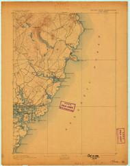 York, Maine 1893 (1898) USGS Old Topo Map 15x15 Quad