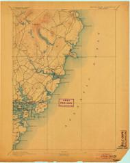 York, Maine 1893 (1904) USGS Old Topo Map 15x15 Quad