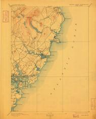 York, Maine 1893 (1909) USGS Old Topo Map 15x15 Quad
