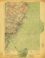 York, Maine 1920 (1925) USGS Old Topo Map 15x15 Quad