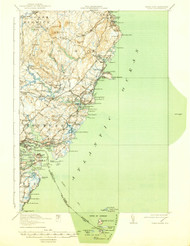 York, Maine 1920 (1939) USGS Old Topo Map 15x15 Quad
