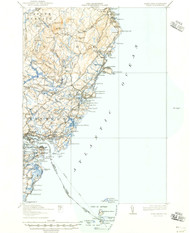 York, Maine 1920 (1946) USGS Old Topo Map 15x15 Quad