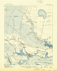 Belhaven, North Carolina 1916 (1944) USGS Old Topo Map 15x15 Quad