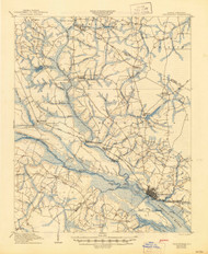 Chocowinity, North Carolina 1905 (1945) USGS Old Topo Map 15x15 Quad