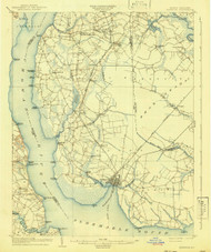 Edenton, North Carolina 1904 (1941) USGS Old Topo Map 15x15 Quad