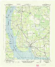 Edenton, North Carolina 1943 (1943) USGS Old Topo Map 15x15 Quad