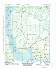 Edenton, North Carolina 1943 (1983) USGS Old Topo Map 15x15 Quad
