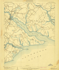 Hertford, North Carolina 1906 (1906) USGS Old Topo Map 15x15 Quad