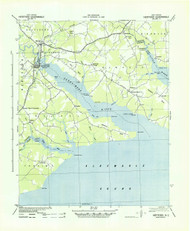 Hertford, North Carolina 1940 (1942a) USGS Old Topo Map 15x15 Quad