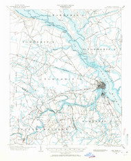 New Bern, North Carolina 1901 (1971) USGS Old Topo Map 15x15 Quad