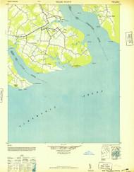 Wade Point, North Carolina 1948 (1948a) USGS Old Topo Map 15x15 Quad