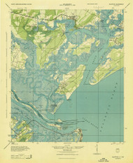 Bluffton, South Carolina 1945 (1945) USGS Old Topo Map 15x15 Quad