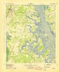 Okatie, South Carolina 1942 (1942) USGS Old Topo Map 15x15 Quad
