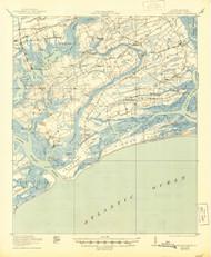 Wadmelaw Island, South Carolina 1919 (1944) USGS Old Topo Map 15x15 Quad