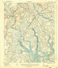 Yemassee, South Carolina 1918 (1942) USGS Old Topo Map 15x15 Quad