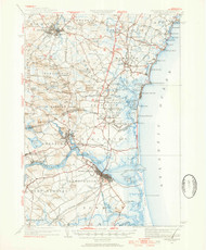 Exeter, New Hampshire 1932 (1954a) USGS Old Topo Map 15x15 Quad