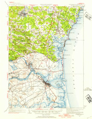 Exeter, New Hampshire 1932 (1954b) USGS Old Topo Map 15x15 Quad