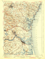 Exeter, New Hampshire 1934 (1943) USGS Old Topo Map 15x15 Quad