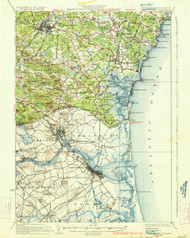 Newburyport, New Hampshire 1934 (1934 a) USGS Old Topo Map 15x15 Quad