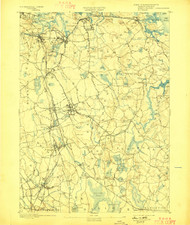 Abington, Massachusetts 1893 (1898) USGS Old Topo Map 15x15 Quad