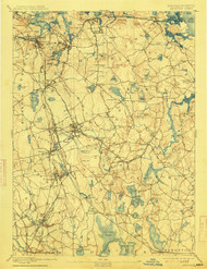 Abington, Massachusetts 1893 (1913) USGS Old Topo Map 15x15 Quad