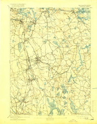 Abington, Massachusetts 1893 (1919) USGS Old Topo Map 15x15 Quad